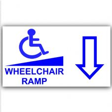 1 x Wheelchair Ramp-Down-Self Adhesive Vinyl Sticker-Disabled,Disability,Wheelchair Sign